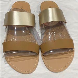 Gold/Tan Slip On Sandals! NWT!